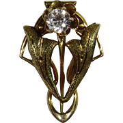 Antique Edwardian 10K Gold White Sapphire Stick Pin