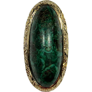 Antique Edwardian 14K Gold Malachite Stick Pin
