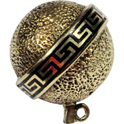 Antique Victorian 14K Gold Enamel Orb Stick Pin