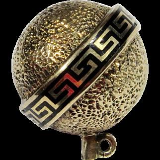 Antique Victorian 14K Gold Enamel Orb Stick Pin