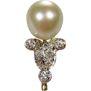 Antique Edwardian 14K Gold & Platinum Tiffany & Company Diamond & Pearl Stick Pin