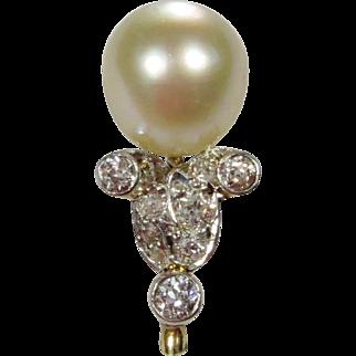 Antique Edwardian 14K Gold & Platinum Tiffany & Company Diamond & Pearl Stick Pin
