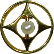 Antique Art Deco 14K Gold Seed Pearl Stick Pin