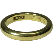 Antique Edwardian 1914 Solid 18K Yellow Gold Wedding Band Ring