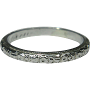 Antique Edwardian Platinum Etched Wedding Band Stacking Ring