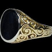 Vintage 10K Yellow & White Gold Man's Men's Signet Ring