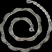 Vintage Late Art Deco Friedrich Binder 835 Silver Scalloped Link Necklace
