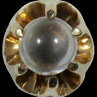 Antique Victorian 10K Gold Moonstone Orb Stick Pin