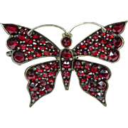 Vintage 800 Silver Bohemian Garnet Butterfly Brooch/Pin