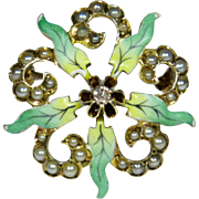 Antique Victorian 10K Gold Seed Pearl, Enamel & Diamond Scatter Pin/Brooch