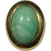 Antique Edwardian 14K Gold Amazonite Cabochon Stick Pin
