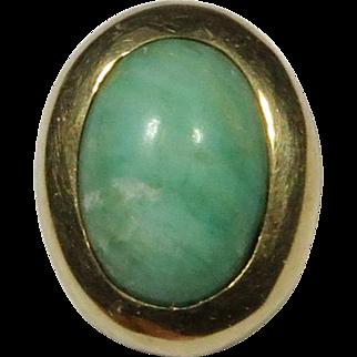 Antique Edwardian 14K Gold Amazonite Cabochon Stick Pin