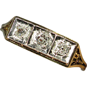 Antique Edwardian 14K Gold & Platinum Three Diamond Filigree Ring