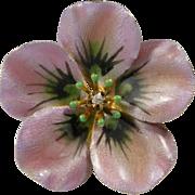 Antique Art Nouveau 10K Gold Enamel Diamond Flower Brooch
