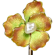 Antique Art Nouveau 10K Gold Enamel Seed Pearl Pansy Stick Pin