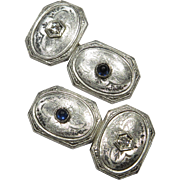 Antique Art Deco 14K White Gold Diamond & Sapphire Cufflinks Cuff Links