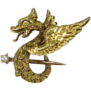 Antique Art Nouveau 10K Gold Winged Dragon Seed Pearl Stick Pin