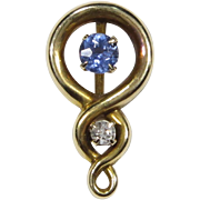 Antique Art Nouveau 14K Gold Sapphire & Diamond Stick Pin