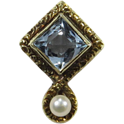 Antique Edwardian 14K Gold Aquamarine & Seed Pearl Stick Pin