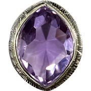 Antique Art Deco 14K White Gold Amethyst Stick Pin