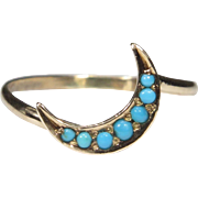Upcycled Antique Victorian 9CT Gold Turquoise Crescent Moon Stick Pin Conversion Ring