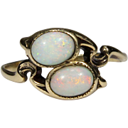 Antique Art Nouveau 10K Gold Two Opal Ring