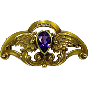 Antique Art Nouveau 14K Gold Riker Bros. Amethyst Wings Watch Pin/Brooch