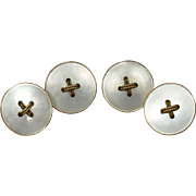 Antique Victorian 9CT Rose Gold Mother of Pearl Button Cufflinks Cuff Links
