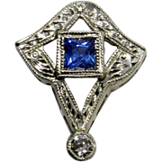 Antique Art Deco 14K White Gold & Platinum Sapphire & Diamond Stick Pin