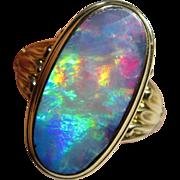 Antique Art Nouveau 10K Gold Black Opal Ring