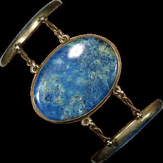 Antique Arts & Crafts Era Sterling Silver Large Sodalite Plaque Bracelet