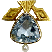 Antique Edwardian 14K Gold Trilliant-Cut Aquamarine & Seed Pearl Stick Pin