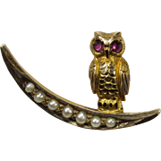 Antique Victorian 10K Gold Owl & Crescent Moon Seed Pearl Stick Pin
