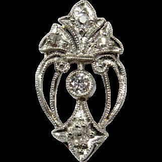 Antique Edwardian 14K Gold & Platinum Diamond Stick Pin