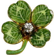 Antique Art Nouveau 14K Gold Enamel & Diamond Shamrock Clover Stick Pin