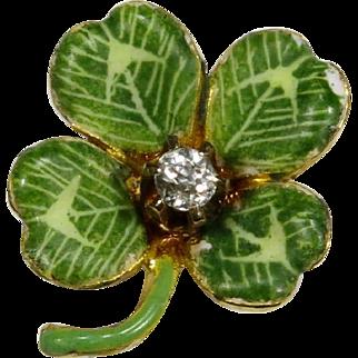 Antique Art Nouveau 14K Gold Enamel & Diamond Shamrock Clover Stick Pin
