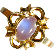 Vintage Retro 10K Yellow Gold Moonstone Ring