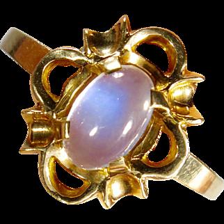 Vintage Retro 10K Yellow Gold Moonstone Ring