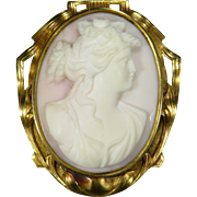 Antique Art Nouveau 14K Gold Shell Cameo Goddess Flora Brooch