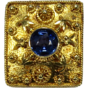 Antique Edwardian 14K Gold Sapphire Stick Pin