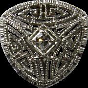 Antique Art Deco 14K White Gold Filigree Diamond Stick Pin