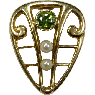 Antique Edwardian 14K Gold Peridot & Seed Pearl Stick Pin