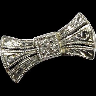 Antique Art Deco 14K White Gold & Platinum Diamond Bow Stick Pin