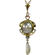 Art Nouveau 14K 10K Gold Mother of Pearl Diamond Stick Pin Lavaliere Necklace Pendant Conversion Piece