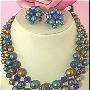 Signed Japan Triple-Strand Plastic & Glass Teal & Metallic-Bronze Necklace & Ear Clips Set
