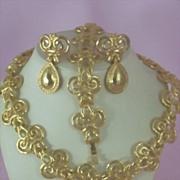 Grand Parure Etruscan Style ~ 3 Pc Set ~ Necklace, Bracelet & Earrings