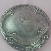 Antique Sterling Silver Vanity Hand Mirror ~ High Relief with Initials