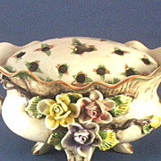 Pottery Centerpiece with Roses & Flower Frog (Arranger) Cover ~ Hand-Painted