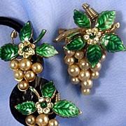 Circa 50's CORO (script) Grapes Simulated Pearl & Enameled Brooch & Earrings Demi