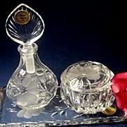 4 Pc PRINCESS HOUSE Heritage 24% Lead Crystal Vanity Set - Perfume Bottle/Trinket Jar/Dresser Tray